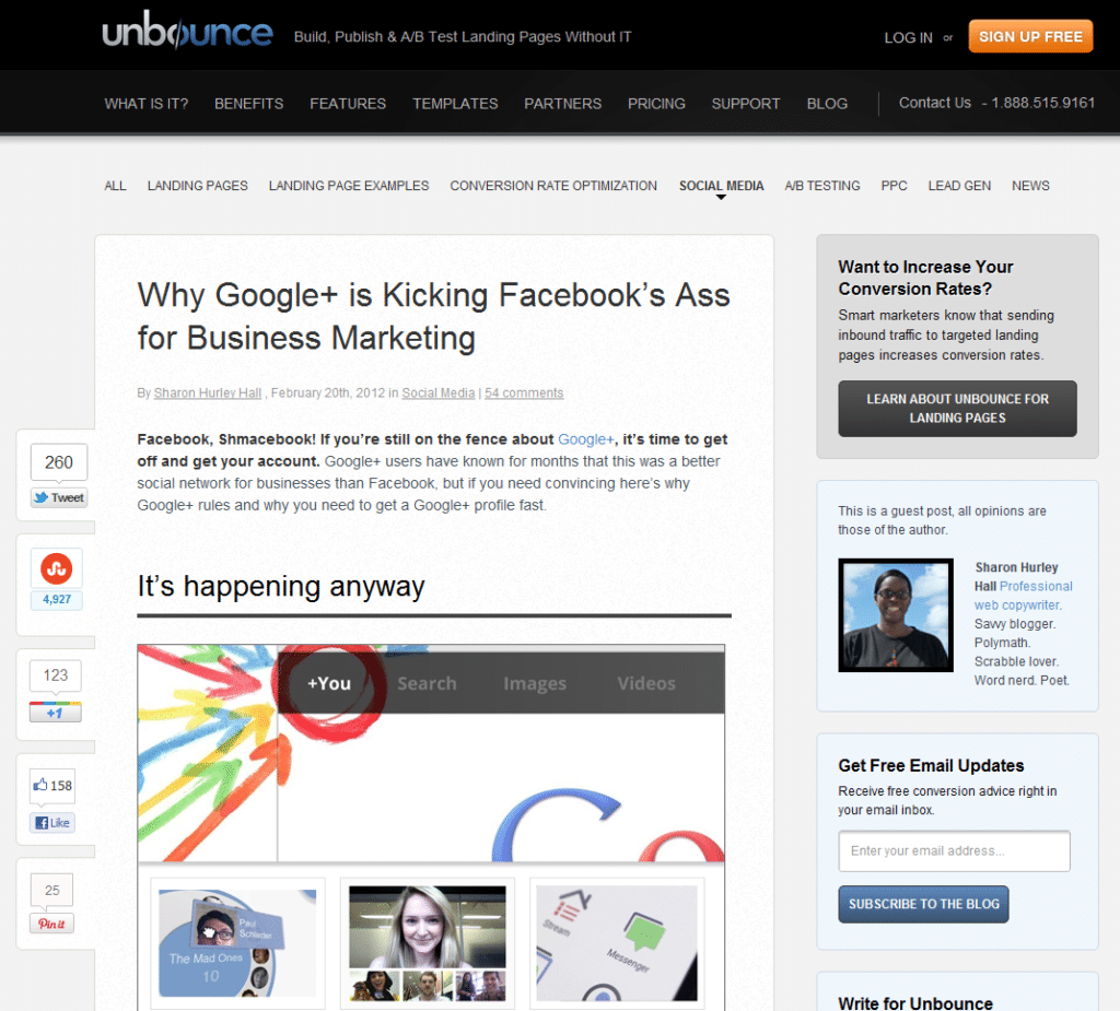 Why Google is Kicking Facebook's A** for Business Marketing - guest post by Sharon Hurley Hall on the Unbounce blog