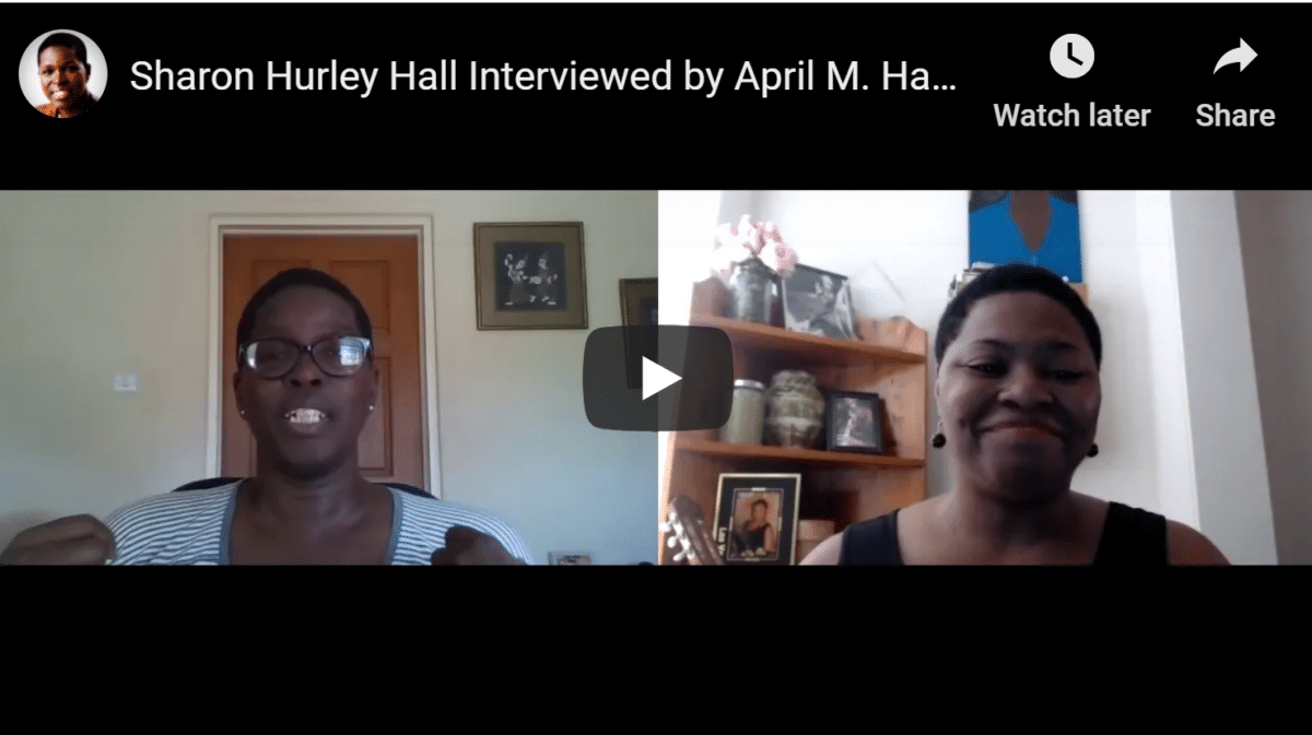 Sharon Hurley Hall interviewed by April Hamm - screen capture