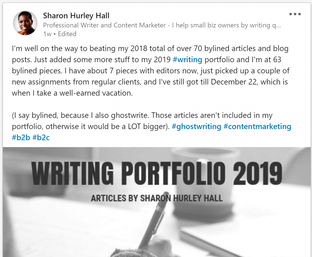 Screenshot: LinkedIn post about writer portfolio