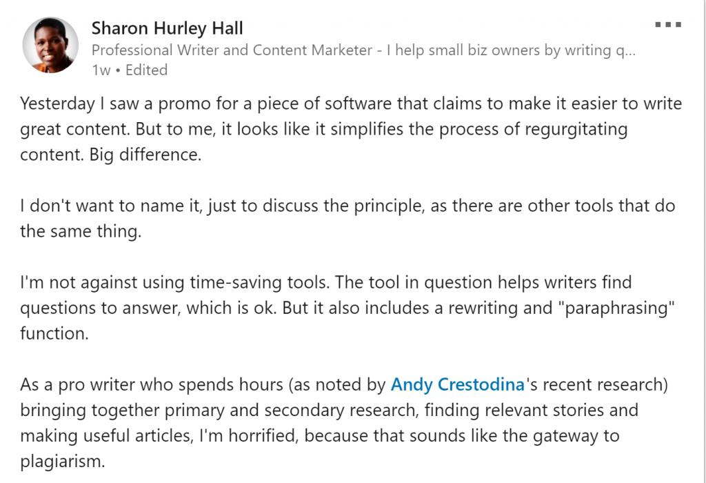 Screenshot: LinkedIn rant about writing software
